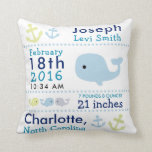 """Birth Stats Nautical Whale Nursery Throw Pillow<br><div class=""""desc"""">This adorable nautical design in blues and greens will look perfect in your little one&#39;s nursery and will be enjoyed as a keepsake for years to come! Matching products available in my store!</div>"""
