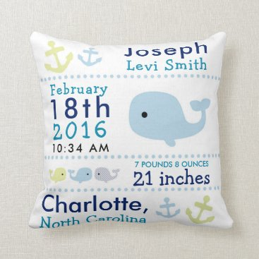 Toddler & Baby themed Birth Stats Nautical Whale Nursery Throw Pillow