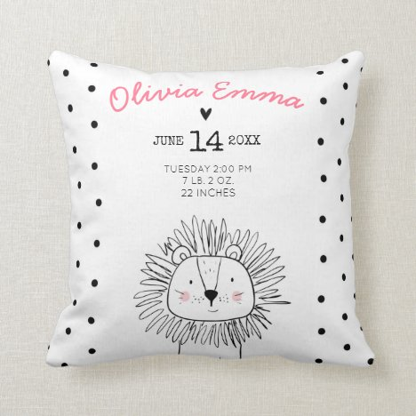 Birth stats Nursery Throw pillow lion Modern Girl