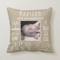 Birth Stats Nursery Typography Neutral Add Photo Throw Pillow