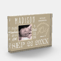 Birth Stats Sign Typography Neutral Chic Modern Photo Block