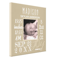 Birth Stats Sign Typography Neutral Decor Photo