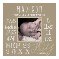 Birth Stats Sign Typography Neutral Modern Photo
