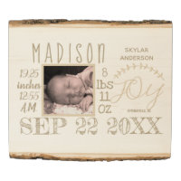 Birth Stats Sign Typography Neutral Rustic Photo
