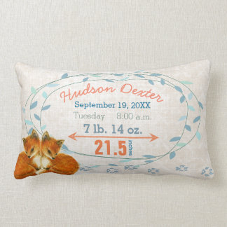Birth Stats Twin Baby Boys Forest Creatures Fox Lumbar Pillow