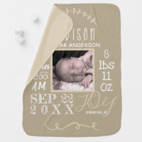 Birth Stats Typography Neutral Add Your Photo Baby Blanket