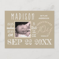 Birth Stats Typography Neutral Modern Baby Photo Announcement Postcard