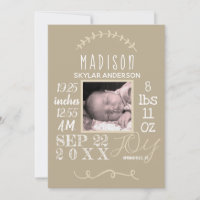 Birth Stats Typography Neutral Modern Chic Photo Announcement