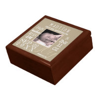 Birth Stats Typography Neutral Photo Keepsake Gift Box