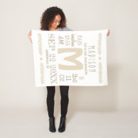 Birth Stats Typography Neutral Rustic Monogram Fleece Blanket