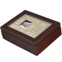 Birth Stats Typography Neutral Rustic Your Photo Keepsake Box