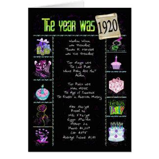 Birth Year 1920 Fun Facts Card