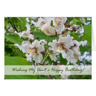 Birthay para la tía, floraciones de Catalpa Tarjeta De Felicitación