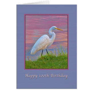 Birthday, 100th, Great Egret Strolling at Sunrise Card