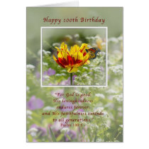 Birthday, 100th, Religious, Butterfly Card