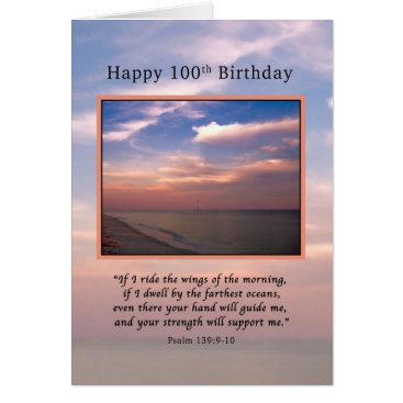 Beach Themed Birthday, 100th, Sunrise at the Beach, Religious Card