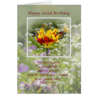 Birthday, 102nd, Religious, Butterfly Card
