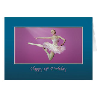Birthday, 13th, Leaping Ballerina, Pink and White Card