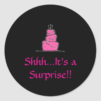 birthday%20cake, Shhh...It's a Surprise!! Classic Round Sticker