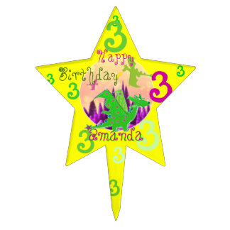 Birthday 3 Years Dragon customizable Name Amanda Cake Pick