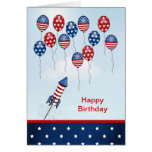 Birthday 4th of July. Stars, stripes, balloons Greeting Card