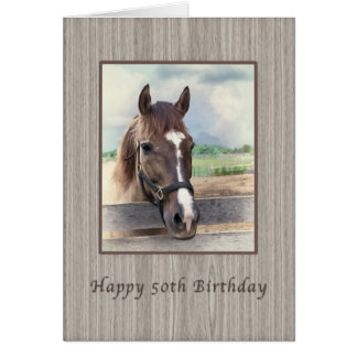 Birthday, 50th, Brown Horse with Bridle Card
