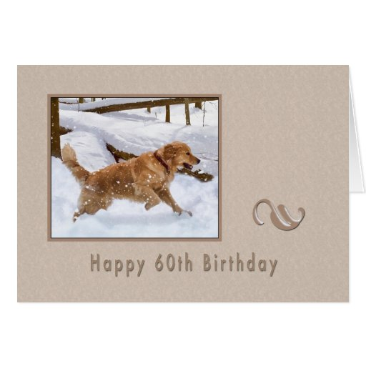 Birthday, 60th, Golden Retriever Dog in Snow Card