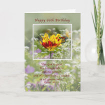 Birthday, 60th, Tulip and Butterfly, Religious Card