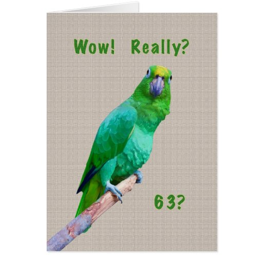 Birthday, 63rd, Green Macaw Parrot on a Limb Card