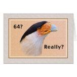 Birthday, 64th, Crested Caracara Bird Greeting Card