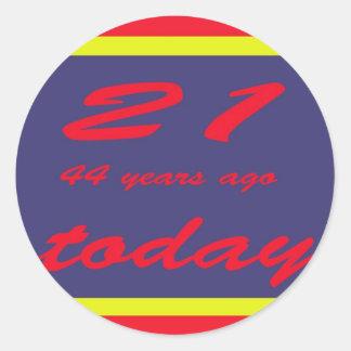 birthday 65th classic round sticker