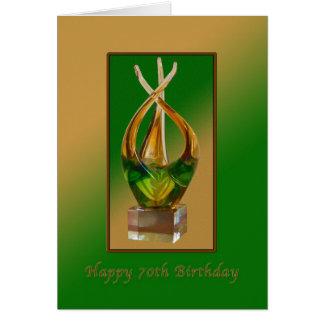 Birthday,  70th, Glass Sculpture Card