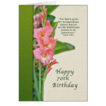 Birthday, 70th, with Pink Gladiolus Greeting Card