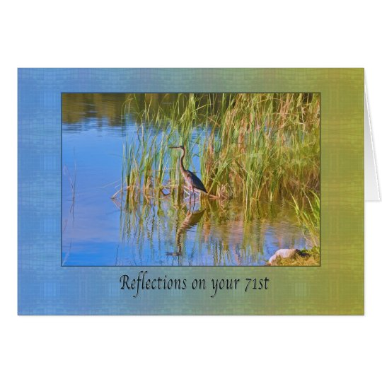 Birthday, 71st, Tricolored Heron, Reflections Card