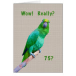 Birthday, 75th, Green Macaw Parrot on a Limb Greeting Cards