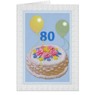 Birthday, 80th, Cake and Balloons Card