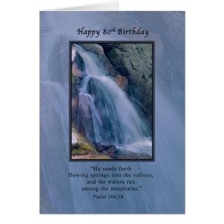 Birthday, 80th, Religious, Mountain Waterfall Greeting Card