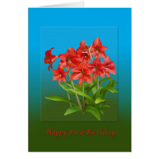 Birthday, 83rd, Red Day Lilies Card