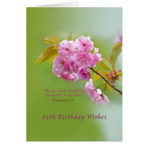 Birthday, 85th, Cherry Blossoms, Religious Card
