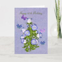Birthday, 87th, Butterflies and Bell Flowers Card