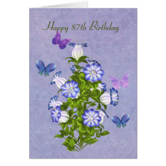 Birthday, 87th, Butterflies and Bell Flowers Greeting Card