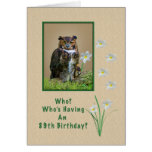 Birthday, 89th, Great Horned Owl and Flowers Greeting Card