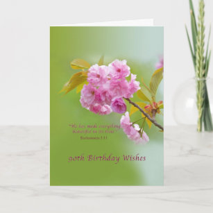 Birthday 90th Cherry Blossoms Religious Card
