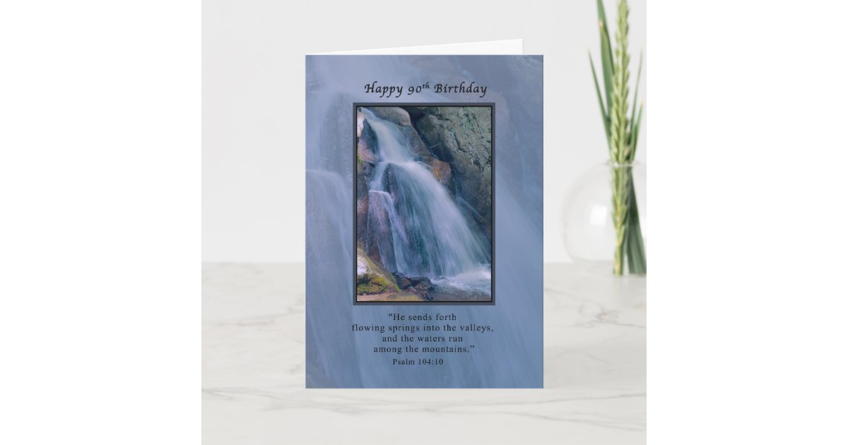 Birthday 90th Religious Mountain Waterfall Card
