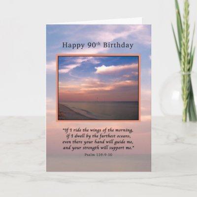Birthday 90th Religious Mountain Waterfall Card