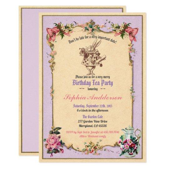 Birthday Afternoon Tea Party Invitation Purple