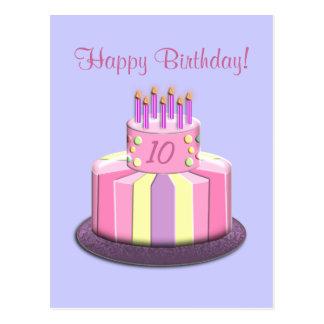 Birthday Age Cake (Pink) Postcard