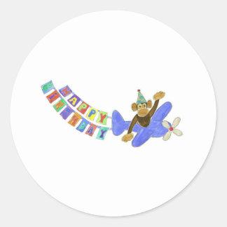 Birthday Airplane Monkey Classic Round Sticker