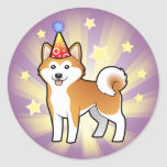 Birthday Akita Inu / Shiba Inu Classic Round Sticker