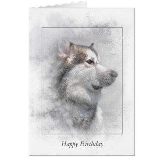 Birthday-Alaskan malamute in mask Card